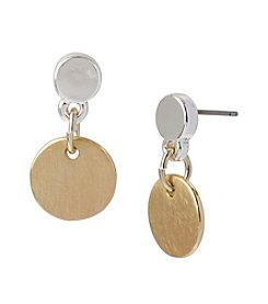 Kenneth Cole® Two Tone Circle Drop Earrings