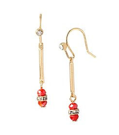 Kenneth Cole® Goldtone And Coral Faceted Bead Long Drop Earrings