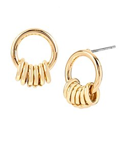 Steve Madden Shaky Ring Small Gypsy Goldtone Hoop Earrings