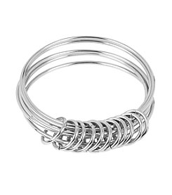 Steve Madden Shaky Ring Silvertone Multi Bangle Bracelet