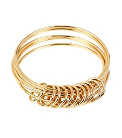 Steve Madden Shaky Ring Goldtone Multi Bangle Bracelet