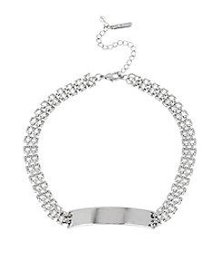 Steve Madden Silvertone Geometric Chain Choker Necklace