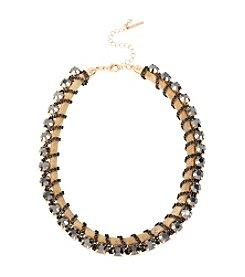 Steve Madden Goldtone Faceted Stone Chain Wrapped Collar Necklace