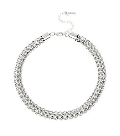 Steve Madden Silvertone Mesh Link Collar Necklace