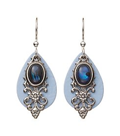 Silver Forest® Silvertone Filigree And Blue Abalone Earrings