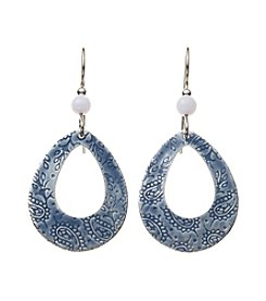 Silver Forest® Silvertone Open Textured Teardrop Earrings