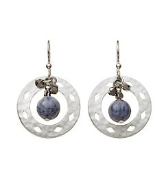 Silver Forest® Silvertone Cutout With Blue Bead Earrings