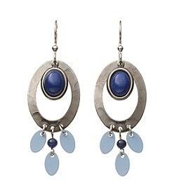 Silver Forest® Silvertone Oval Blue Stone And Paddles Earrings