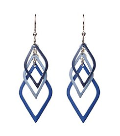 Silver Forest® Silvertone Cascading Blue Diamond Shape Earrings