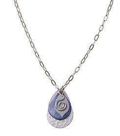 Silver Forest® Silvertone And Blue Teardrop And Coil Necklace