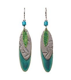 Silver Forest® Silvertone Blue And Green Layered Shapes Earrings