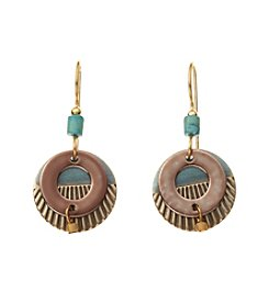 Silver Forest® Goldtone And Blue Open Circles Earrings