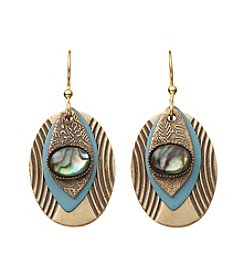 Silver Forest® Goldtone Abalone Stone And Teal Earrings