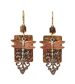 Silver Forest® Two Tone Terra Cotta Dragonfly Earrings