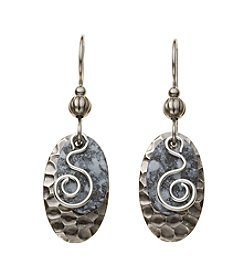 Silver Forest® Silvertone And Grey Coil Earrings