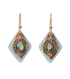 Silver Forest® Goldtone Blue Abalone Layered Earrings