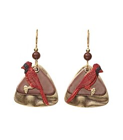 Silver Forest® Goldtone And Red Cardinal Earrings