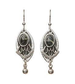 Silver Forest® Silvertone And Green Layered Earrings