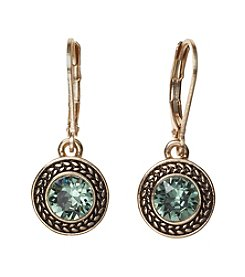 Napier® Goldtone Leverback Drop Earrings With Green Swarovski Stone