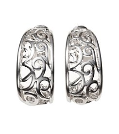 Napier® Silvertone Swirl Clip Earrings