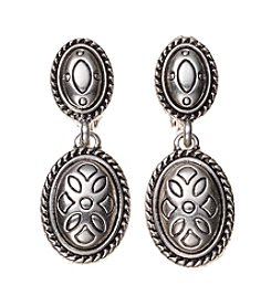 Napier® Antique Silvertone Double Drop Clip Earrings