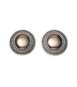 Napier® Two Tone Oval Button Clip Earrings
