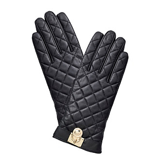 MICHAEL Michael Kors® Quilted Leather Gloves With Mk Padlock And Touch Tips