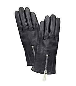 MICHAEL Michael Kors® Leather Gloves Zipper And Gusset Touch Tips