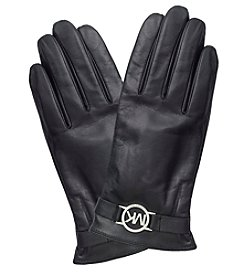 MICHAEL Michael Kors® Leather Gloves With Mk Circle Logo And Touch Tips