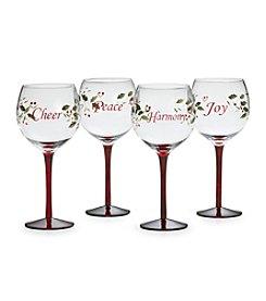 Pfaltzgraff® Winterberry Set of 4 Sentiments Wine Glasses