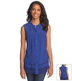 Adiva Sleeveless Button-Up Top