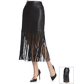 Chelsea & Theodore® Fringe Faux Leather Skirt