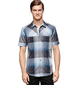 Calvin Klein Men's Classic Fit Mini Grid Plaid Short Sleeve Shirt