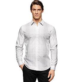 Calvin Klein Men's Long Sleeve Slim Fit Large Scale Grid Cotton Shirt