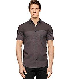 Calvin Klein Men's Chambray Colorblock Short Sleeve Shirt