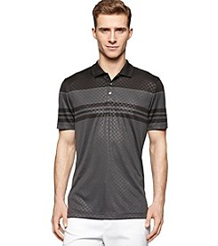 Calvin Klein Men's Short Sleeve Daimond Print Striped Mesh Polo