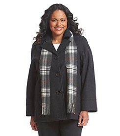 Forecaster Plus Size Single-Breasted Raglan Sleeve A-Line Coat