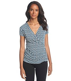 Anne Klein® Chain Print Wrap Blouse
