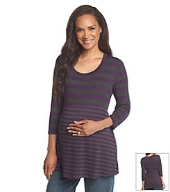 Three Seasons Maternity™ 3/4 Sleeve Contrast Stripe Knit Top