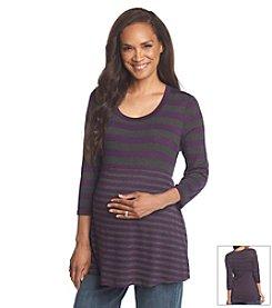 Three Seasons Maternity™ 3/4 Sleeve Contrast Stripe Knit Top