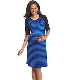 Three Seasons Maternity® Solid Elbow Sleeve Stripe Dress