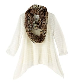 Beautees Girls' 7-16 Sharkbite Sweater With Scarf