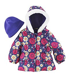 London Fog® Baby Girls' 3-24 Month Floral Print Bubble Jacket