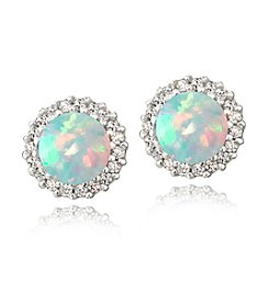 Designs by FMC Silver-Plated Created Opal & CZ Halo Button Earrings
