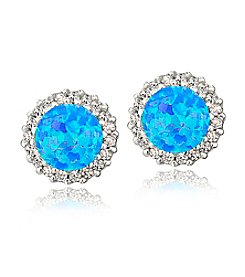 Designs by FMC Silver-Plated Created Blue Opal & CZ Halo Button Earrings