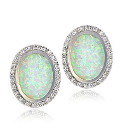 Designs by FMC Silver-Plated Created Opal & CZ Oval Button Earrings
