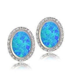 Designs by FMC Silver-Plated Created Blue Opal & CZ Oval Button Earrings