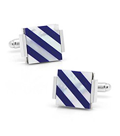 Ox & Bull Men's Floating Lapis and Mother of Pearl Striped Cufflinks