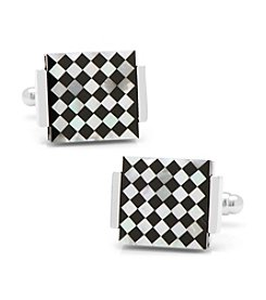 Ox & Bull Men's Floating Onyx and Mother of Pearl Checkered Cufflinks