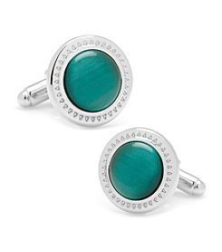 Ox & Bull Men's Emerald Green Cat's-eye Etched Border Cufflinks